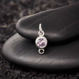 Sterling Silver Swarovski Birthstone Link June 14x5mm