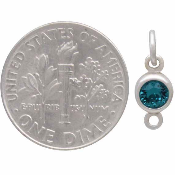 Sterling Silver Swarovski Birthstone Link December 14x5mm