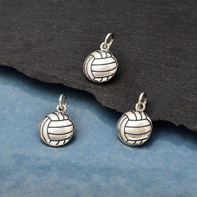 Sterling Silver Volleyball Charm 16x10mm