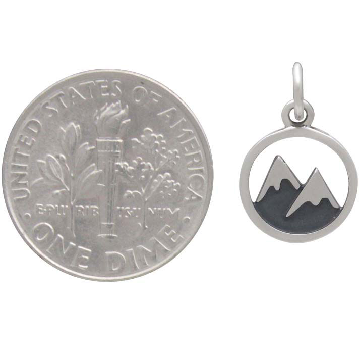 Sterling Silver Snow Capped Mountain Charm 16x10mm