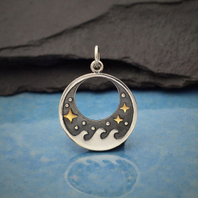 Sterling Silver Wave Charm with Bronze Stars 23x17mm