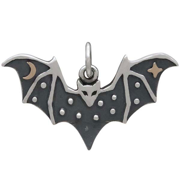 Sterling Silver Bat Charm with Bronze Star and Moon 16x25mm