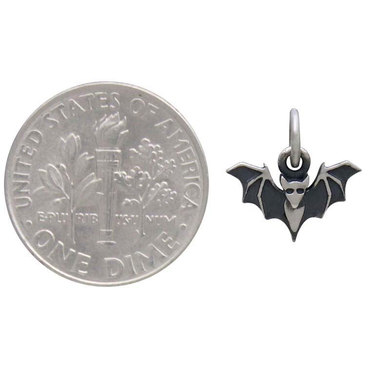 Sterling Silver Mini Bat Charm 12x12mm