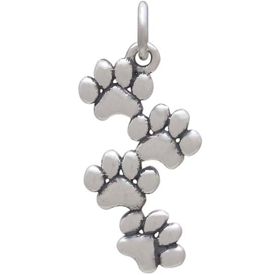 Sterling Silver Stacked Puffy Paw Charm 23x11mm