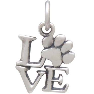 Sterling Silver Love Charm with Pawprint O 16x10mm
