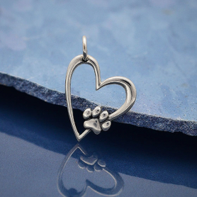 Sterling Silver Heart Charm with Pawprint 21x14mm