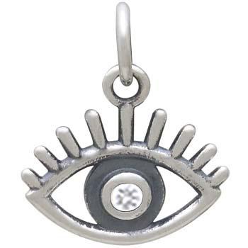 Sterling Silver Evil Eye Charm with Nano Gem 14x13mm