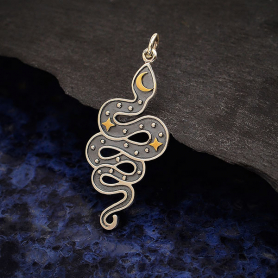 Silver Snake Pendant with Bronze Moon and Stars 38x15mm