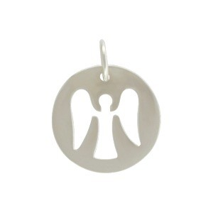 Sterling Silver Round Charm with Angel Cutout 16x12mm