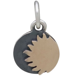 Mixed Metal Silver and Bronze Sun Charm 13x8mm