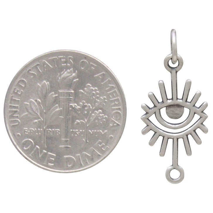 Sterling Silver Eye Link with Long Eye Lashes 23x10mm