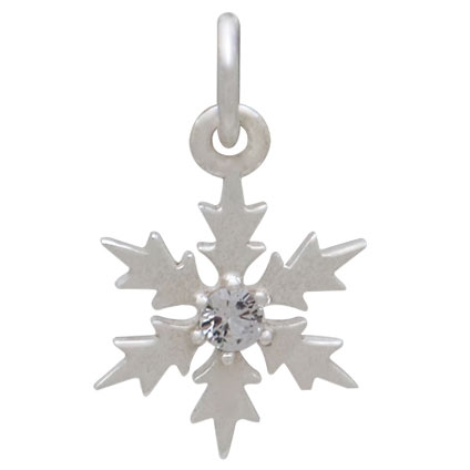 Sterling Silver Snowflake Charm with Single Nano Gem 17x10mm