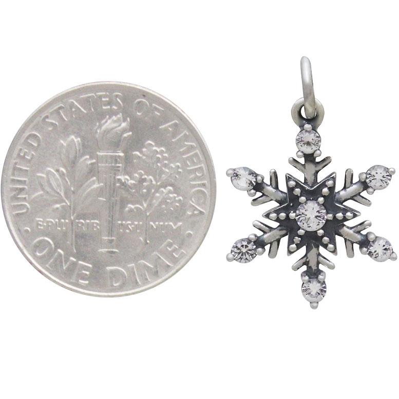 Sterling Silver Medium Snowflake Charm with NanoGems 21x14mm