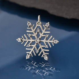 Sterling Silver Snowflake Pendant with Nano Gems 25x20mm
