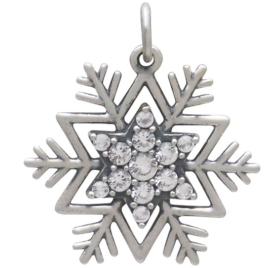 Sterling Silver Snowflake Pendant with Pave NanoGems 23x21mm