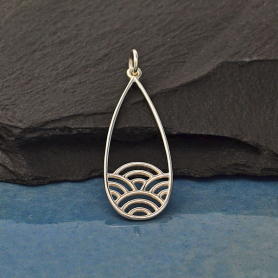 Silver Narrow Teardrop Charm with Wave Pattern 36x12mm