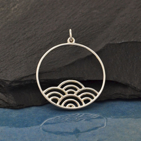 Sterling Silver Circle Charm with Wave Pattern 30x25mm