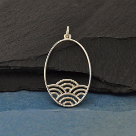 Sterling Silver Oval Charm with Wave Pattern 36x18mm