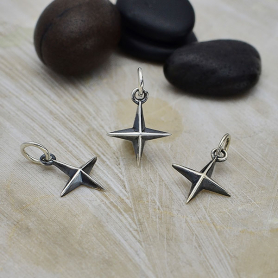 Sterling Silver Ridged 4 Point Star Charm 16x10mm
