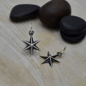 Sterling Silver Ridged 6 Point Star Charm 16x9mm