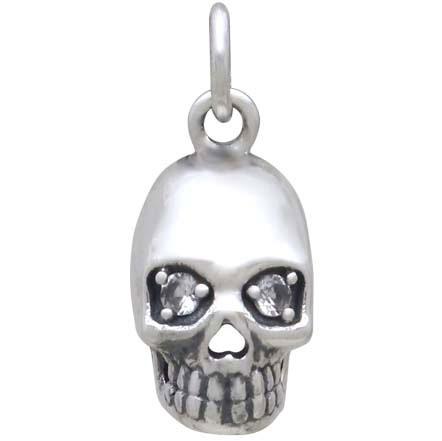 Sterling Silver Skull Charm with Nano Gem Eyes 18x8mm
