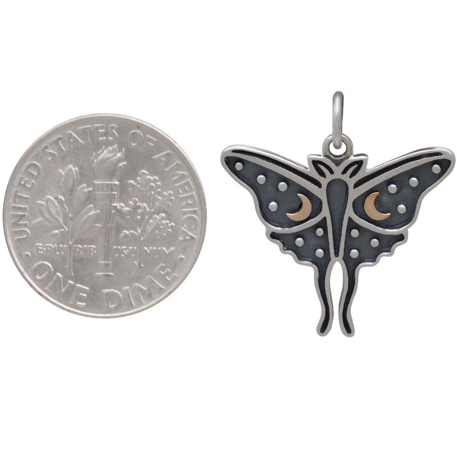 Sterling Silver Luna Moth Charm with Bronze Moons 22x20mm