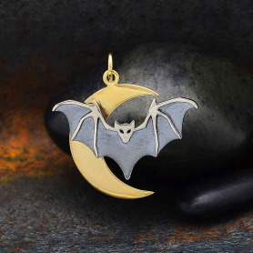 Sterling Silver Layered Bat Charm with Bronze Moon 27x26mm