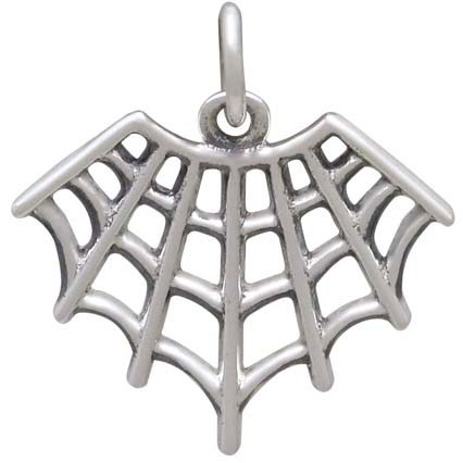 Sterling Silver Spider Web Charm 18x17mm
