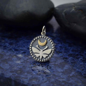 Sterling Silver Moth Charm with Bronze Moon and Dots 21x15mm