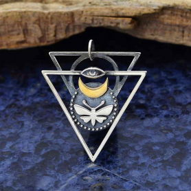 Mixed Metal Triangle Pendant with Moth and Eye 36x31mm