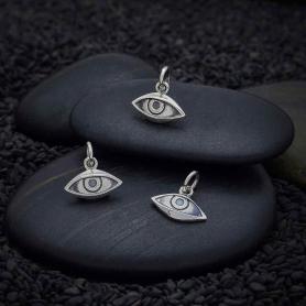Sterling Silver Dimensional Eye Charm 12x12mm