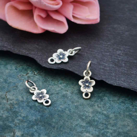 Sterling Silver Single Cherry Blossom Link 14x6mm
