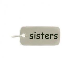Sterling Silver Word Charm - Sisters 18x7mm