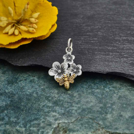 Silver Triple Cherry Blossom Charm with Bronze Bee 21x13mm