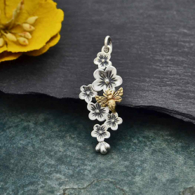 Silver Cherry Blossom Cluster Charm with Bronze Bee 33x12mm