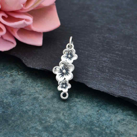 Sterling Silver Triple Cherry Blossom Link 25x8mm
