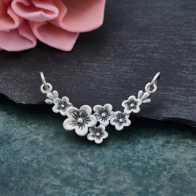 Sterling Silver Cherry Blossom Pendant Festoon 19x29mm