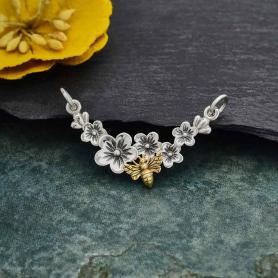 Silver Cherry Blossom Pendant Festoon with Bronze Bee21x30mm