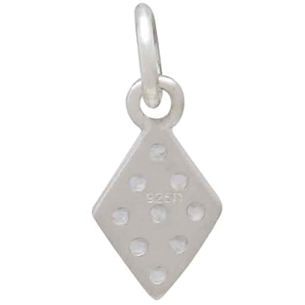 Sterling Silver Diamond Charm with Clear Nano Gems 16x6mm