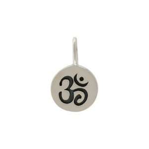 Sterling Silver Small Round Charm with Etched Om 13x8mm