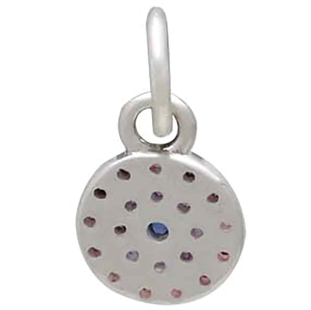 Sterling Silver Circle Charm with Colorful Nano Gems 12x6mm