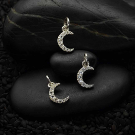 Sterling Silver Moon Charm with Clear Nano Gems 14x7mm