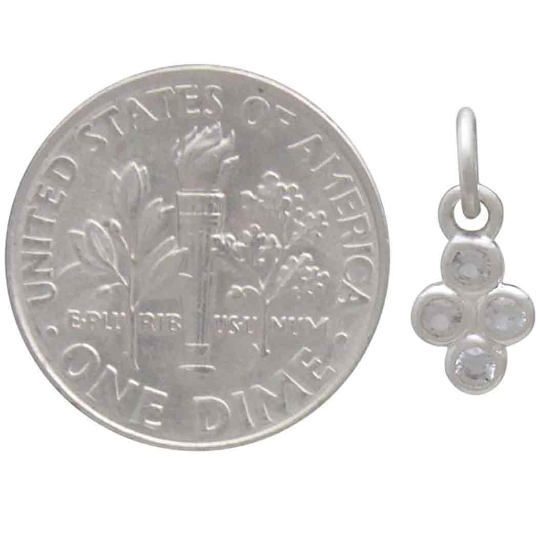 Sterling Silver Clear Cluster Nano Gem Charm 14x6mm