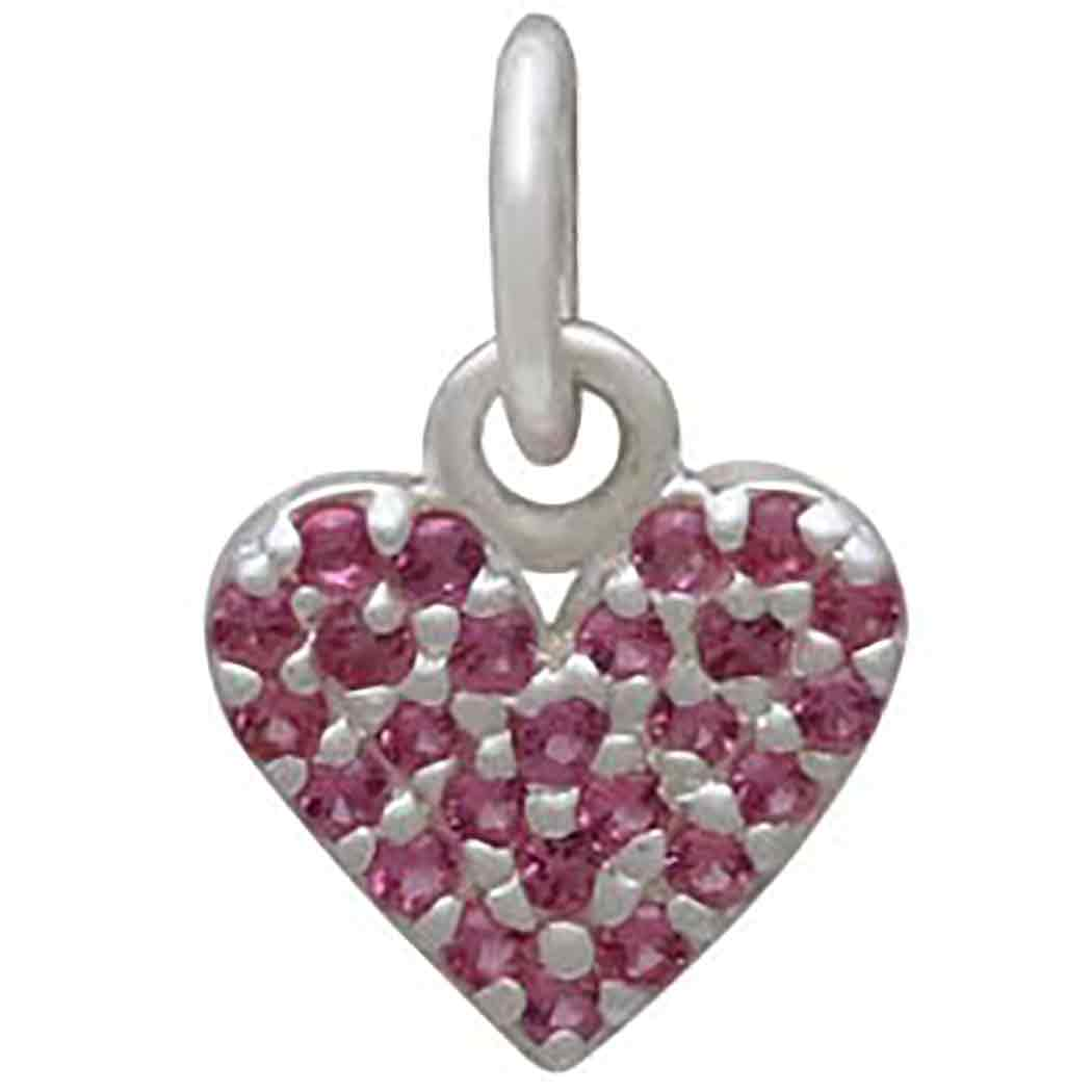 Sterling Silver Heart Charm with Pink Nano Gems 12x8mm