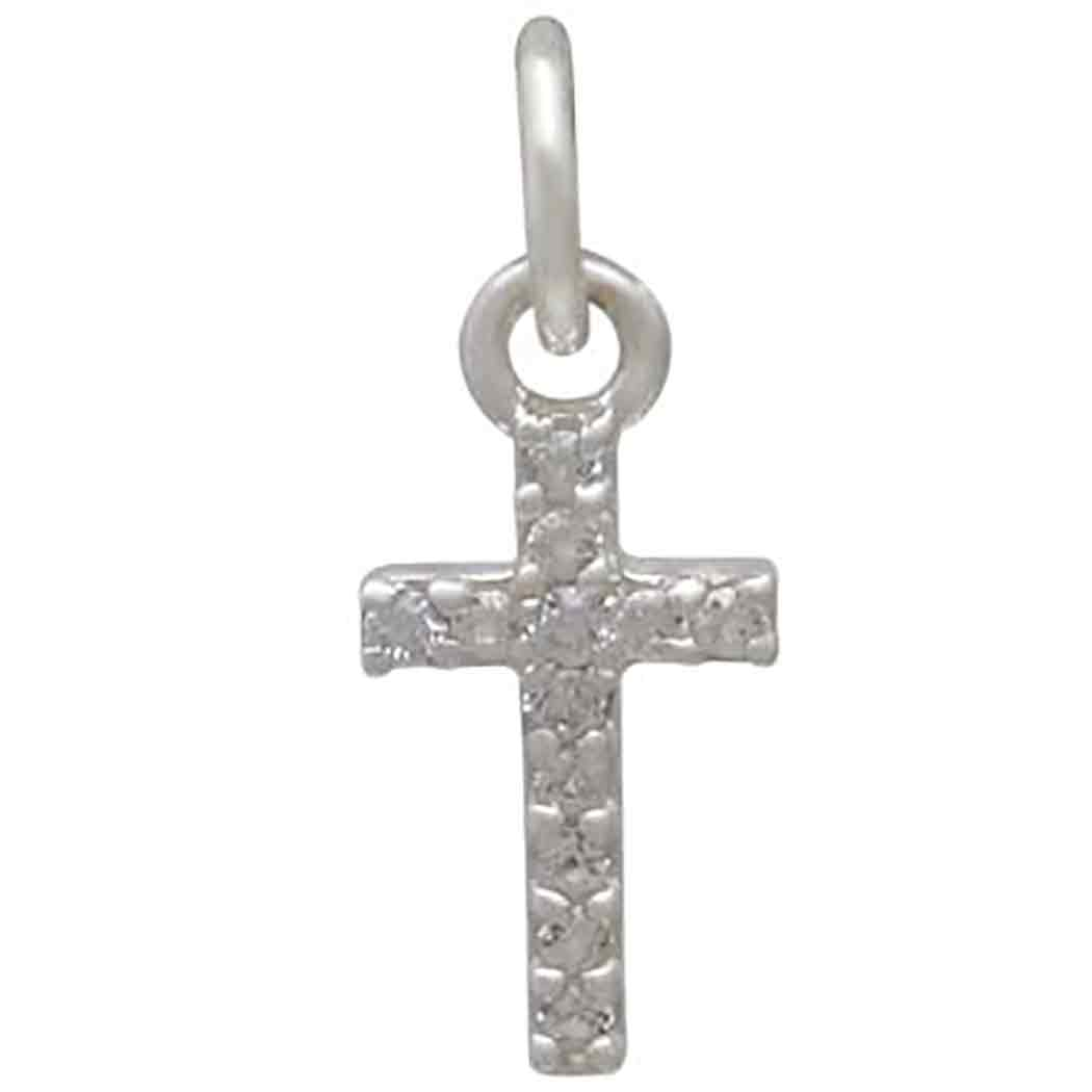 Sterling Silver Cross Charm with Clear Nano Gems 16x6mm