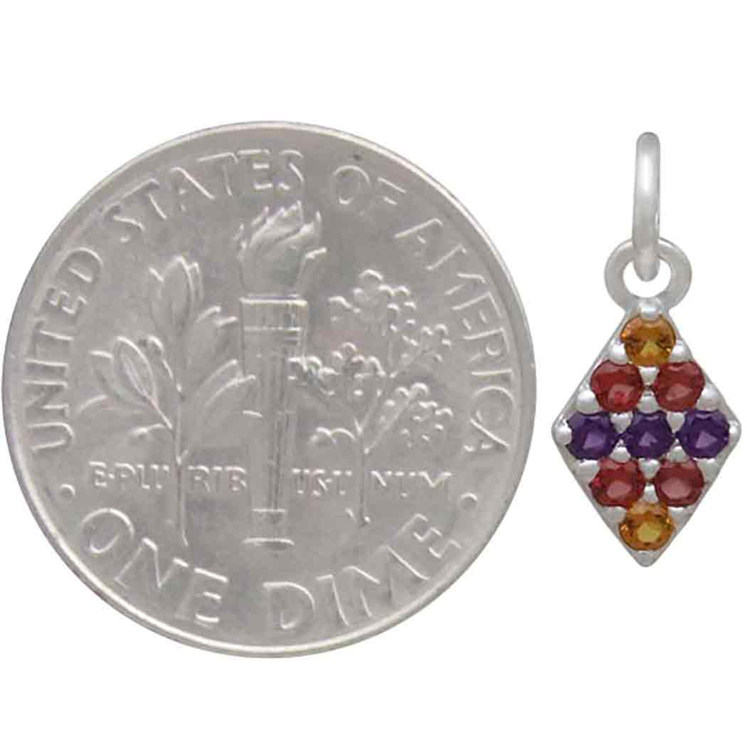 Sterling Silver Diamond Charm with Colorful Nano Gems 15x6mm