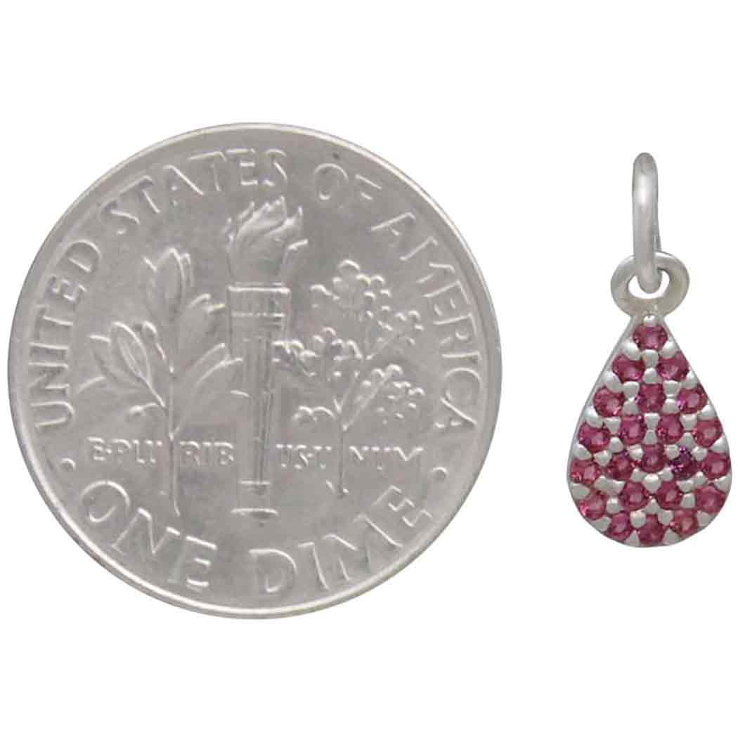 Sterling Silver Teardrop Charm with Pink Nano Gems 14x6mm