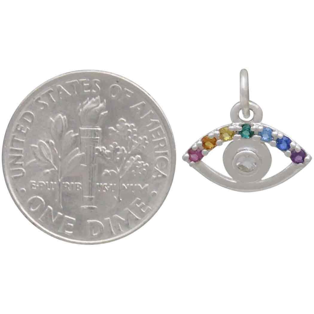 Sterling Silver Rainbow Eye Charm with Nano Gems 13x13mm