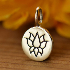 Sterling Silver Small Round Charm with Etched Lotus