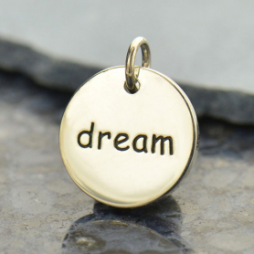 Sterling Silver Word Charm - Dream - Round DISCONTINUED